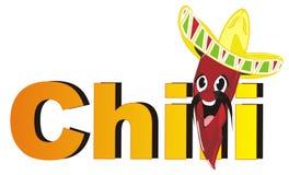 Glückliches Paprikapfeffer pancho und orange Buchstaben Stockbild