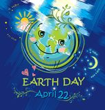 Glückliches Planetenlächeln Umweltslogans, Sprechen und Phrasen über die Erde, die Natur und das gehende Grün 22. April Stockbild