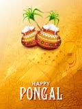 Glückliches Pongal-Feiertags-Erntefest Tamil Nadu-des Süd-Indien-Grußhintergrundes Lizenzfreie Stockfotos