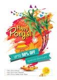 Glückliches Pongal-Gruß-Hintergrund-Schablonen-Design Stockfotos