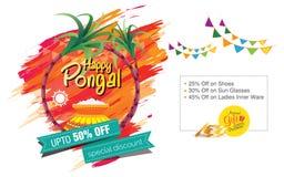 Glückliches Pongal-Gruß-Hintergrund-Schablonen-Design Stockbilder