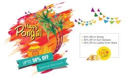 Glückliches Pongal-Hintergrund-Schablonen-Design Lizenzfreies Stockbild