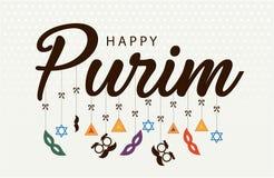 Glückliches Purim, jüdische Feiertagskarte Stockbild