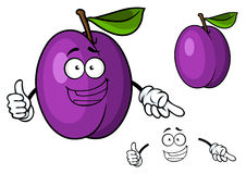 Glückliches purpurrotes Karikaturpflaumen-Fruchtgeben Daumen oben Stockfoto