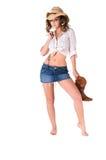 Glückliches reizvolles Cowgirl Stockfoto