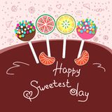 Glückliches süßestes Tageskonzept, Grußkarte Bunte Vektorillustration, Hand gezeichnete Art stockfotografie