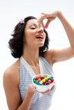 Glückliches Süßigkeitmädchen Stockfoto