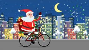 Glückliches Santa Claus-Reiten auf einem Fahrrad über der Nachtstadt stock video