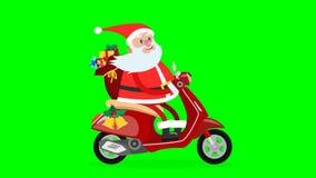Glückliches Santa Claus-Reiten auf einem Moped stock footage