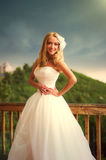 Glückliches schönes Brautlächeln Stockfoto