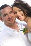 Glückliches schönes Paare headshot lizenzfreie stockfotografie