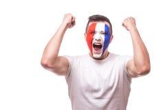 Glückliches schreiendes Frankreich-Fußballfan des Vermögensgewinns des Matches von Frankreich-Nationalmannschaft Stockbild