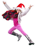 Glückliches Schulmädchen oder Reisender, die trainieren, laufen und springen Stockfotografie
