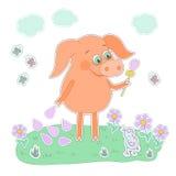 Glückliches Schwein mit einer Blume in einer Hand Netter Karikaturschweinaufkleber Stockbilder