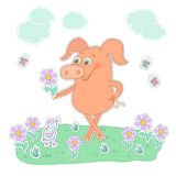 Glückliches Schwein mit einer Blume in einer Hand Netter Karikaturschweinaufkleber Stockfotos