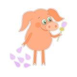 Glückliches Schwein mit einer Blume in einer Hand Nettes piggy in der Karikaturart Stockfoto