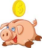 Glückliches Schwein-Sparschwein Stockfotos