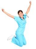 Glückliches Springen der Krankenschwester lizenzfreie stockfotos