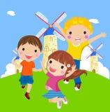 Glückliches springendes Mädchen und Jungen vektor abbildung