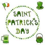 ` Glückliches St- Patrick` s Tag-` Übergeben Sie gezogene St- Patrick` s Tagesbeschriftungstypographie für Postkarte, Karte, Flie Stockfotos