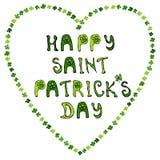 ` Glückliches St- Patrick` s Tag-` Übergeben Sie gezogene St- Patrick` s Tagesbeschriftungstypographie für Postkarte, Karte, Flie Stockbild