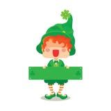 Glückliches St- Patrick` s Tageskobold-Gruß-Zeichen Lizenzfreie Stockfotografie