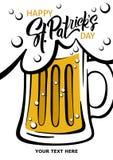 Glückliches St- Patrick` s Tagesplakat Illustration eines Bierkrugs mit Stockbild