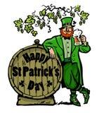 glückliches St.-patricks Tagesplakat Koboldcharakter-Holdingbierkrug, der auf Fass mit Text unter den Niederlassungen von sich le vektor abbildung