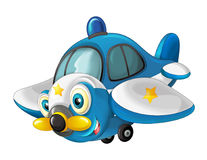 Glückliches traditionelles Flugzeug der Karikatur mit dem Propeller, der über Stadt lächelt und fliegt Lizenzfreie Stockfotografie