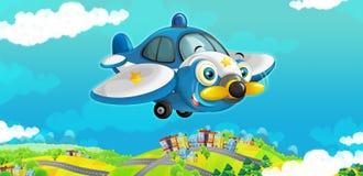 Glückliches traditionelles Flugzeug der Karikatur mit dem Propeller, der über Stadt lächelt und fliegt Stockfotografie