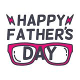 Glückliches Typografiedesign des Vaters s Tagesmit sunglass Vektorillustrationen des Vaters s Tages Stockbild
