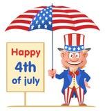 Glückliches 4 Uncle Sam hält Regenschirm der amerikanischen Flagge Lizenzfreie Stockbilder