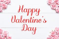 Glückliches Valentine& x27; s-Tag rosa Rosenrahmenhintergrund Lizenzfreie Stockfotografie