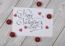 Glückliches Valentinsgruß ` s Tageskonzept mit Praline Lizenzfreies Stockfoto