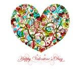 Glückliches Valentinsgruß-Tagesinneres mit bunten Strudeln Stockfotos