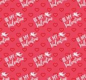 Glückliches Valentinsgruß-Tagesmuster mit Herzen, Engel und Pfeil Vecto Stockfotos