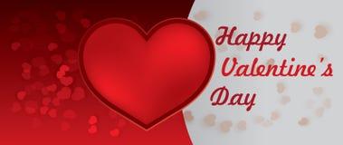 Glückliches Valentinsgruß-Tagesrot-Herz Stockbild