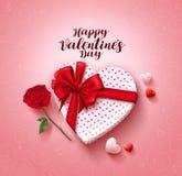 Glückliches Valentinsgrußtagesgrußkarten-Vektordesign mit Liebesgeschenk und rosafarbener Blume Stockfotos