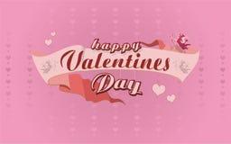 Glückliches Valentinsgrußtagesplakat mit Kalligraphietext auf Band Auch im corel abgehobenen Betrag stockbilder