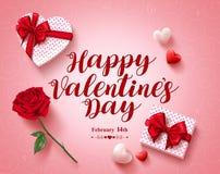 Glückliches Valentinsgrußtagestext-Grußkarten-Vektordesign mit Liebesgeschenken Stockbild
