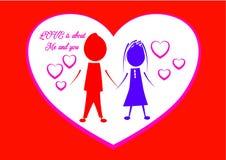 Glückliches Valentinstag-Zitat mit Paar-Illustration Stockbilder