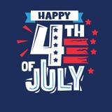 Glückliches 4. von Juli-Phrase Unabhängigkeitstag-Aufkleber und Zitate über USA für Feiertag lizenzfreie stockfotos