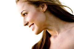 Glückliches vorbildliches Profil Stockfotos