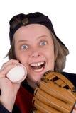 Glückliches weibliches Basebalgebläse stockfoto