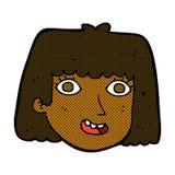 glückliches weibliches Gesicht der komischen Karikatur Stockfotografie