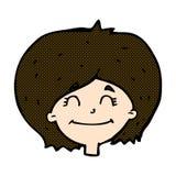 glückliches weibliches Gesicht der komischen Karikatur Stockfotos