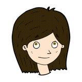 glückliches weibliches Gesicht der komischen Karikatur Lizenzfreies Stockfoto