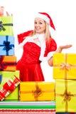 Glückliches weibliches Weihnachten Sankt mit Geschenken Lizenzfreie Stockfotos