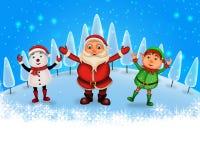 Glückliches Weihnachten der frohen Weihnachten, Sankt mit rendeer lizenzfreie abbildung