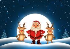 Glückliches Weihnachten der frohen Weihnachten, Sankt mit rendeer vektor abbildung